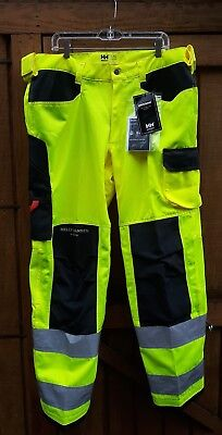 Mens Yellow Helly Hansen Work Wear Safety Pants 42x33