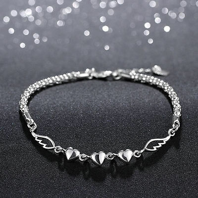 Fashion 925 Sterling Silver Women Charm Love Heart Anklet Jewelry