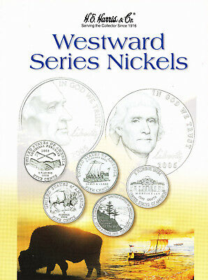 "H. E. Harris & Co. Album ""Westward Series Nickels"".Four Colorized Coins Included"