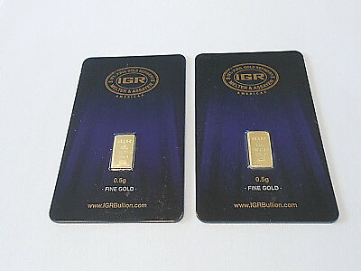 Gold Lot Of Two 1/2 Gram New Sealed Solid 24K Gold Bars Invest