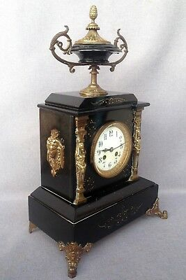 Big antique Napoleon III style french clock bronze and marble 19th century