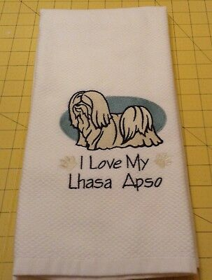 I Love My Lhasa Apso! Embroidered Williams Sonoma Kitchen Towel