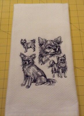 Chihuahua Long Hair Collage Sketch Embroidered Wm Sonoma Kitchen Hand Towel