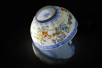 OLD ANTIQUE CHINESE PORCELAIN BOWL HAND PAINTED, EGG SHELL, Children Playing