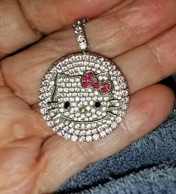 HELLO KITTY SANRIO Sterling Silver Pave Set Crystal Fine Pendant Necklace EUC