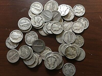 Roll 50 Mercury Dimes  All 1920's  even mix  90% Silver  F + Range cherry Picked