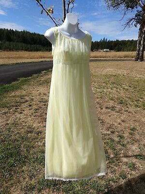 Vintage MISS ELAINE , 34, pastel yellow chiffon over nylon long gown with lace
