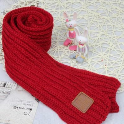 2018 Winter New Solid Red Scarf Warm Fashionable Knitting Wool Scarf For Child