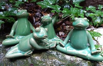 Yoga Frog Garden Figurines Meditation Statues Set Of 5 Vtg Green Ceramic ...