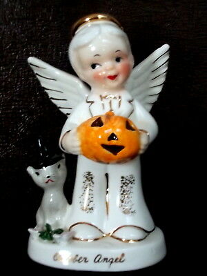 Vintage 1956 Napco October Boy Angel A1926 Halloween w/jack-o-lantern and cat