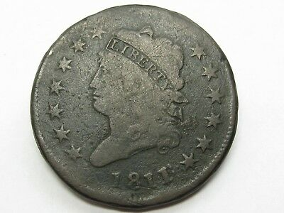 1811/0 Classic Head Large Cent, scarce overdate, VG detail