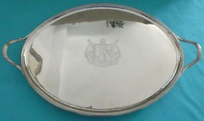 Large Georgian Sterling Silver Tray Crest Armorial Reeded Crouch & Hannam 1791