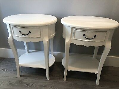 Pair Of French Vintage Style Oval White Bedside Tables