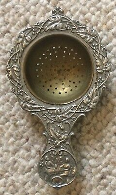 Metal Tea Strainer ANTIQUE ..Ornate Floral Design