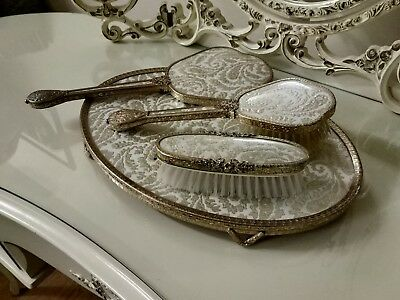 French Louis Style Guilt Vanity Set inc. Tray, Mirror and 2 Brushes