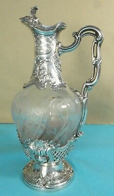 Superb French Sterling Silver Glass Claret Jug Leaf Lattice Etched Edouard Ernie