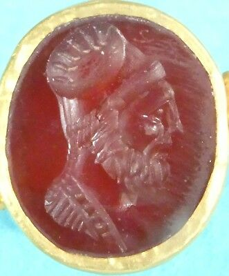 Rare Ancient 22ct Gold Parthian Signet Ring Carnelian King Mithridates C123 BC
