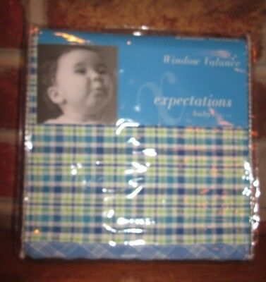 NEW EXPECTATIONS BY BABY MARTEX BLUE GREEN PLAID NURSERY WINDOW VALANCE 36 x 48