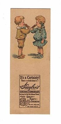 Huyler's Cocoa & Chocolate 2 Victorian Children Eating Candy Bars Trade Card