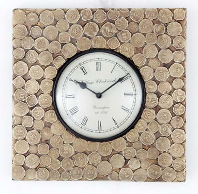 """Antique Vintage Hand Made Ethnic Wooden Brass Finish 12"""" Wall Clock-099"""