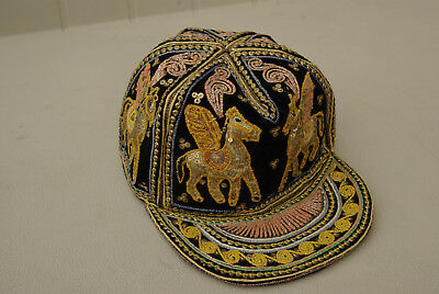 Vintage Antique Chinese Asian Adult Hand Made Hat Cap Embroidered Horses Unique