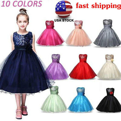 Kids Baby Dress Flower Girls Party Sequins Costumes Bridesmaid Dresses Age 6M-8Y
