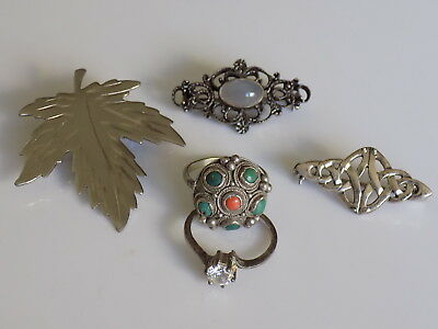 Job Lot of Vintage Sterling Silver and Silver Jewellery, brooches, rings