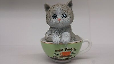 """Kayomi Harai """"Coffee Cats"""" Kittens in Coffee Cups Figurines Persian Purr-fection"""