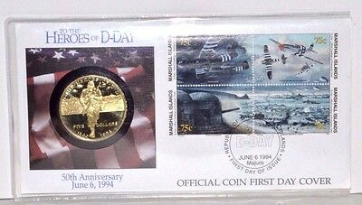 1994 50TH ANNIVERSARY HEROES OF D-DAY Official Coin First Day Cover Coin CPS83RZ