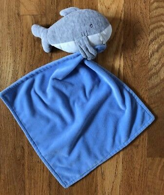 70d25d5f488d CARTERS BLUE GREY Shark Baby Blanket Rattle Security Lovey Carter s ...
