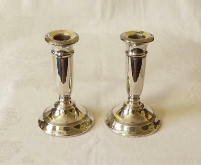 Pair Of Antique Early 20Th Century Silver Candlesticks  Birmingham 1935