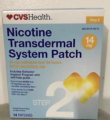 CVS Nicotine Transdermal Patch Step 2 14mg 14 Patches 14 Days EXP 9/2019 1 Box
