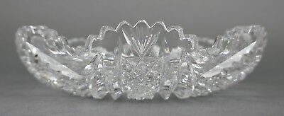Fine Antique AMERICAN BRILLIANT Cut Crystal ABP Open Flat Round Bowl 19th 3