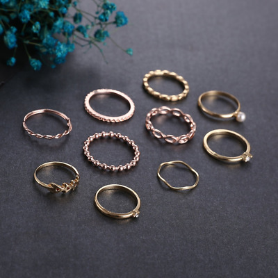 10 pcs Finger Rings Bohemian Vintage Women Crystal Joint Knuckle Nail Ring NEW