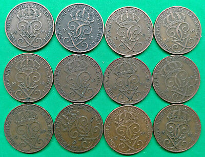 Lot of 12 Different Old Sweden 5 Ore Coins 1909-1929 !!