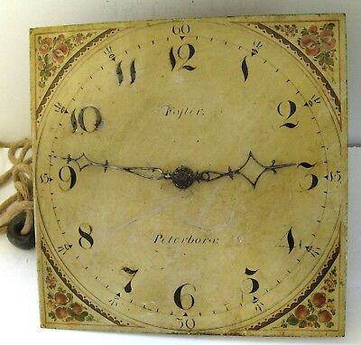 Grandfather Clock Dial & Movement - Foster of Peterbrough - Complete.