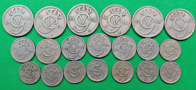 Lot of 20 Different Old Sweden Nickel 10-25-50 Ore Coins 1920-1947 !!