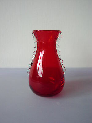 Whitefriars Small Red Glass Vase With Clear Glass Flanges no.9420 1960's 11cm