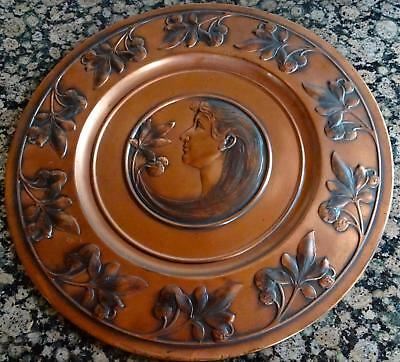 Outstanding WMF Art Nouveau Wall-plate, Charger: Maiden Head