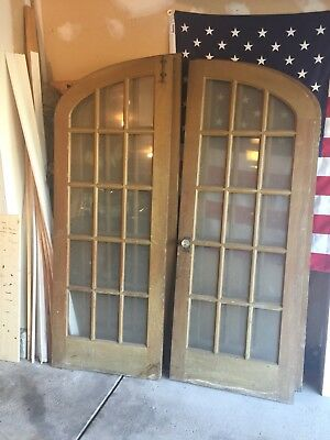 Vintage 1930's Glass Arched Wooden French Doors