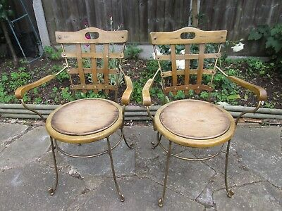 A Pair of Vintage French Wooden Slat Iron Framed Chairs, Garden / Dinning