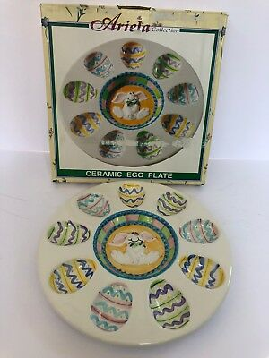 Vintage Ariela Collection by World Bazaar-Ceramic Egg Plate, Easter Motif