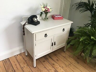 Charming Shabby Chic Vintage Antique Hall Unit Sideboard in Farrow And Ball