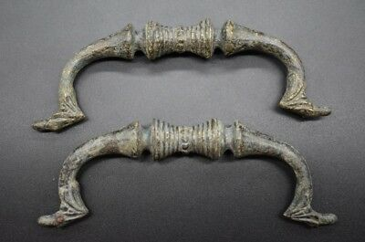 Pair of ancient Roman bronze helmet carrier handles C. 2nd - 3rd century AD