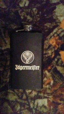 Jagermeister Flat Black Mini Flask With Mini Funnel Good Condition