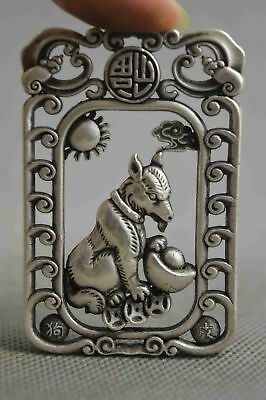 Collectable Handwork Decor Old Miao Silver Carve Wolfhound Hold Wealthy Pendant