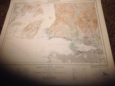 rare military map of vancouver north brittish colombia