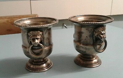 Pair of silver plated mini urns/toothpick holders, Vines of Sheffield