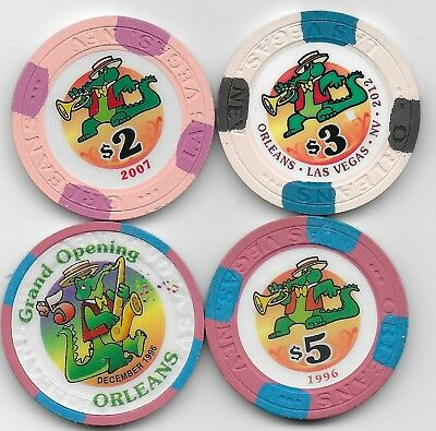 Very Nice 4 Casino Chip Lot From THE ORLEANS-Las Vegas, Nv.-$2 $3 $5 & GO $5