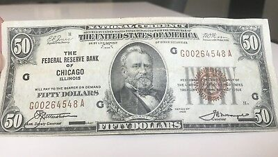 $50 National Currency Red Seal Series 1929 Chicago- Circulated